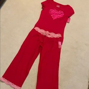Red Heart ❤️ Lace PJ Set, NWT